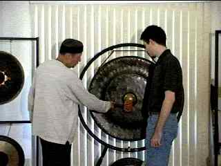 Mitch and student with Indonesian Gong